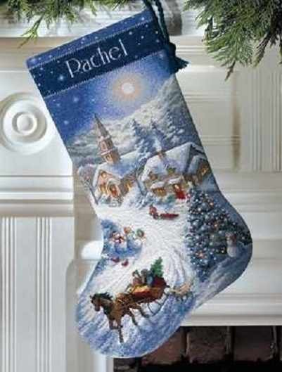 Набор для вышивания DIMENSIONS 8712-DMS Sleigh Ride at Dusk Stocking,